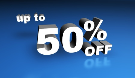 cheapness: Up to fifty per cent off sign. Stock Photo