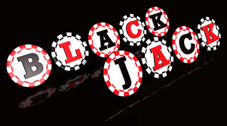 ruleta de casino: Signo de Blackjack en chips colores negros y rojos.
