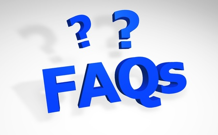 3d faqs sign with question marks.