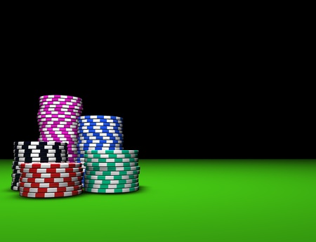 poker chips: Colored casino chips on green table. Great background for magazines, banners, webpages, flyers, etc.