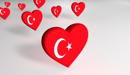 the turkish flag: Heart-shaped turkish flag. Stock Photo