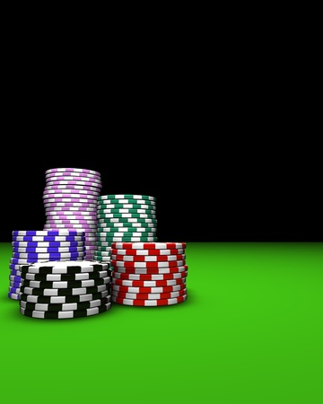 Colored casino chips on green table. Great background for magazines, banners, webpages, flyers, etc.