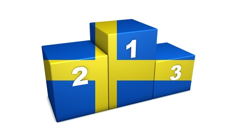 Swedish top positions 3d rendering. Podium for concept  Stock Photo - 9936497