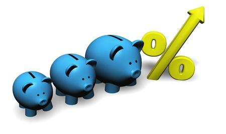 retour: Een grappige groeiende varken-vormige moneybox met percentagesymbool.