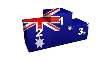 Australian top positions 3d rendering. Podium for concept