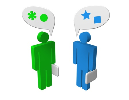 compromised: Different opinion of two speaking businessmen. Disagree or different points of view concept. Stock Photo