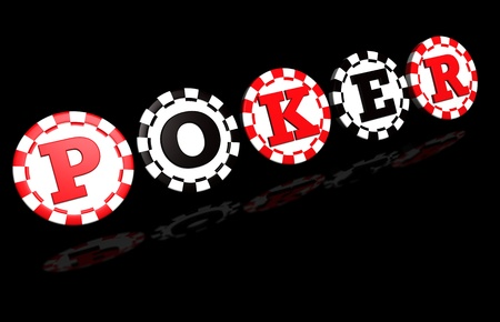 play card: Poker sign on red and black colored chips. Black background with reflection. Stock Photo