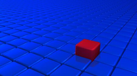 uniqueness: Innovation and uniqueness concept represented by red cube color and position. There Stock Photo