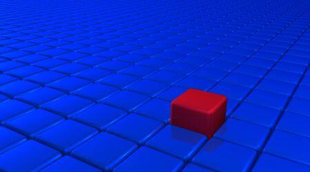soltería: La innovación y el concepto de unicidad representado por el color cubo rojo y posición. Hay Foto de archivo
