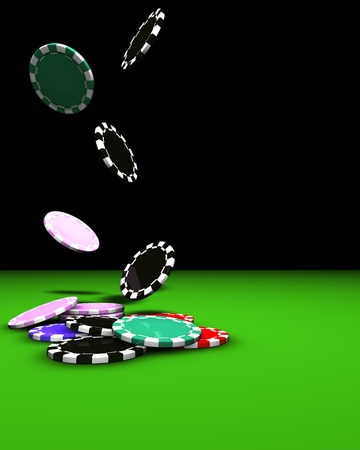 bankroll: 3d rendering of colored chips falling on a green table. Great background for magazines, banners, webpages, flyers, etc.