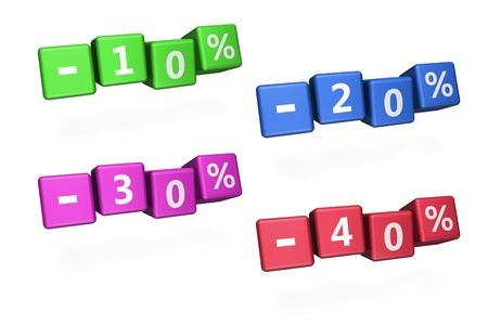 cheapness: Rendering 3d of cubes with discount percentage. You can easy change color in hue and saturation.