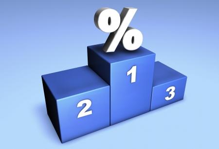 finalistin: 3d Spitzenposition Podium mit Prozentsatz Symbol f�r Konzept: Meister der Angebote oder Gewinner in Wettbewerb.