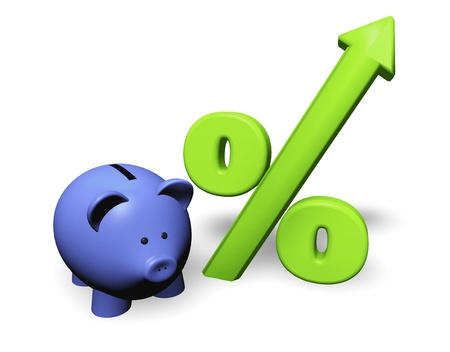 moneybox: Funny piggy-bank or money-box with green growing percent symbol.