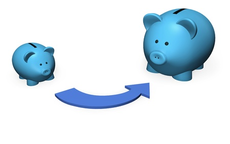 good investment: Representation of savings growth by two piggy-bank in different size.