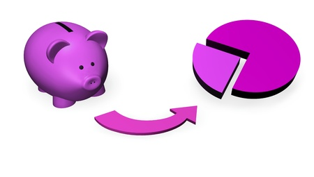 mutual funds: Investment fund, mutual fund concept with a money-box or piggy-bank and a pie chart. Stock Photo