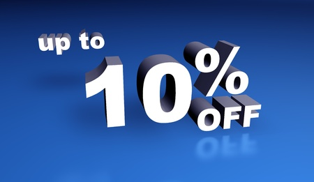 cheapness: Up to ten percent off sign. 3d rendering. Stock Photo