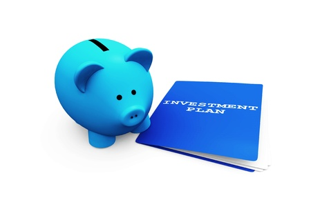 shares: A funny piggy-bank or money-box advising an investment plan. Stock Photo