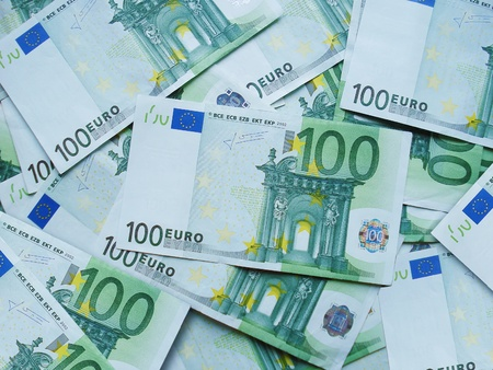 devaluation: Euro banknotes scattered by chance on a table.                  Stock Photo