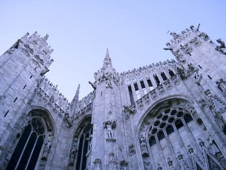nascent: Lateral facade of gothic cathedral in Milan, Duomo di Milano, Lombardy, Italy.