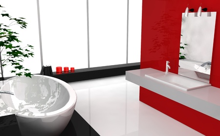 lavish: Modern luxury bathroom with contemporary design and furniture, colored in black and red, 3d rendering.