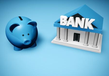 moneybox: Piggybank or money-box and bank building.