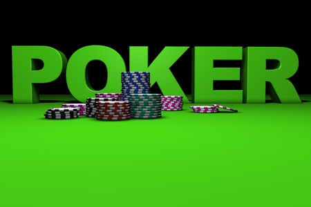 bankroll: 3d rendering of poker sign and colored chips on a green table. Great background for magazines, banners, webpages, flyers, etc. Stock Photo