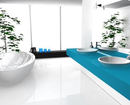 lavish: Modern luxurious bathroom with contemporary design and furniture, colored in black, cyan and white, 3d rendering. Stock Photo