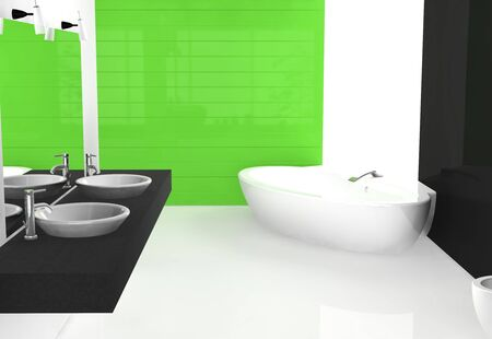 Modern luxurious bathroom with contemporary design and furniture, colored in black, green and white, 3d rendering. photo