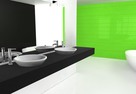 Modern luxurious bathroom with contemporary design and furniture, colored in black, green and white, 3d rendering.