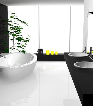 Modern luxurious bathroom with contemporary design and furniture, colored in black and white, 3d rendering.