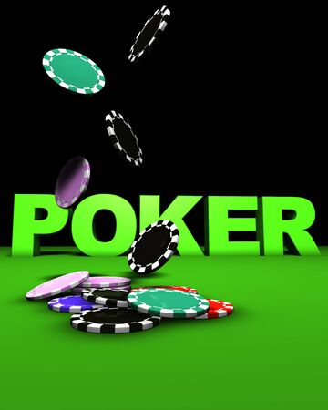 3d rendering of poker sign and colored chips falling on a green table. Great background for magazines, banners, webpages, flyers, etc. photo