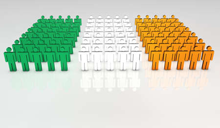 Group of 3d people forming a frontal view of Irish flag. With copy space.