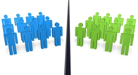 divided: Two teams of 3d people with different color separated from a ditch.  Stock Photo
