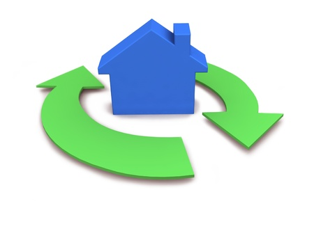 property management: Home icon with two green arrows. 3d rendering on white background.