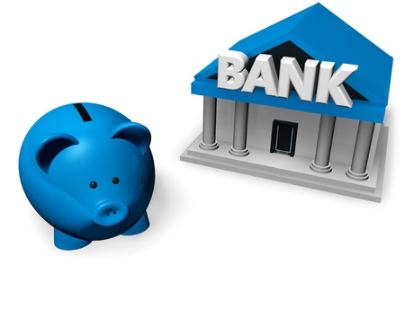 piggybank: Piggybank or money-box with bank building on white background 3d rendering. Stock Photo