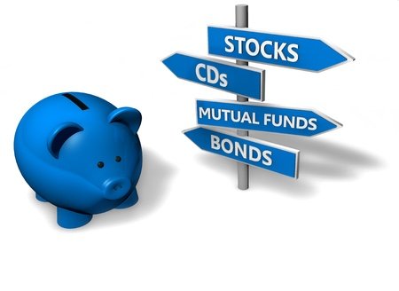 Piggybank o denaro-box con le opzioni di investimento sulla segnaletica direzionale.