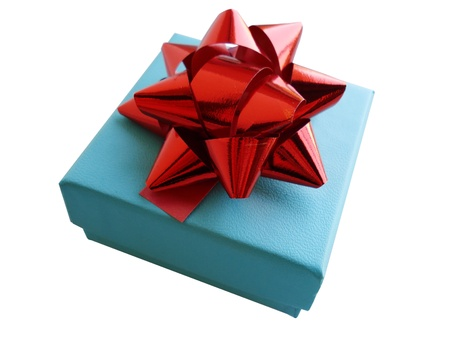 homage: Closeup of present in a turquoise gift box with red ribbon. Isolated on white background. Stock Photo