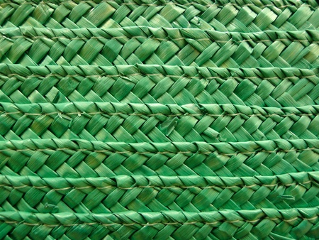 plot: Closeup of a green wicker basket with interlaced plot.