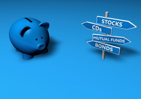 mutual fund: Piggybank or money-box with investment options on directional signs.