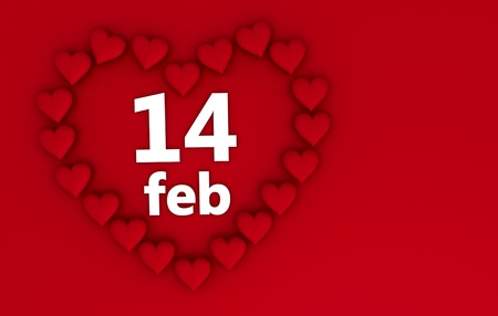 Heart shaped frame for valentines day on red background with copyspace. photo