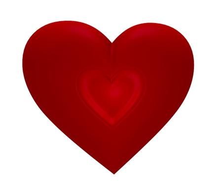 흰색 배경에 고립 된 마음 안에 심장.