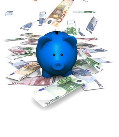 A funny piggybank or money-box with falling money  euro  photo