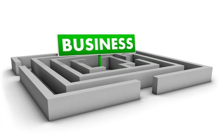 Business concept with labyrinth and green goal sign on white background Stock Photo - 12431986
