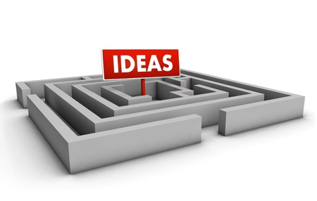 Ideas concept with labyrinth and red goal sign on white background  Stock Photo - 12431981