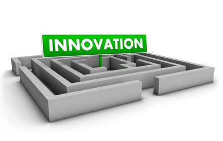 different goals: Innovation concept with labyrinth and green goal sign on white background