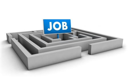 Job concept with labyrinth and blue goal sign on white background  Stock Photo - 12431982