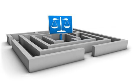 business law: Justice concept with labyrinth and blue balance symbol on white background  Stock Photo
