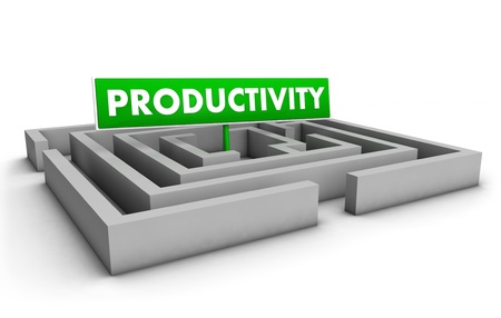 Productivity concept with labyrinth and green goal sign on white background Stock Photo - 12431988