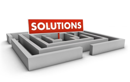 Solutions concept with labyrinth and red goal sign on white background  Stock Photo - 12431985