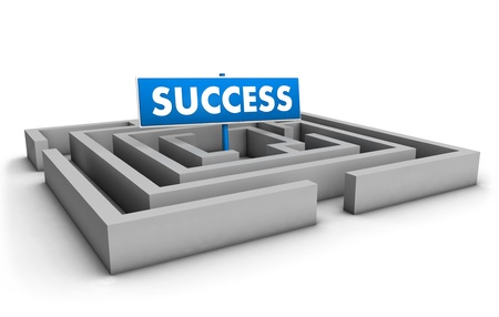 action plan: Success concept with labyrinth and blue goal sign on white background  Stock Photo